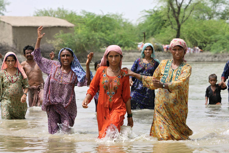 Hochwasser Shadhat Kot, Sindh, Pakistan